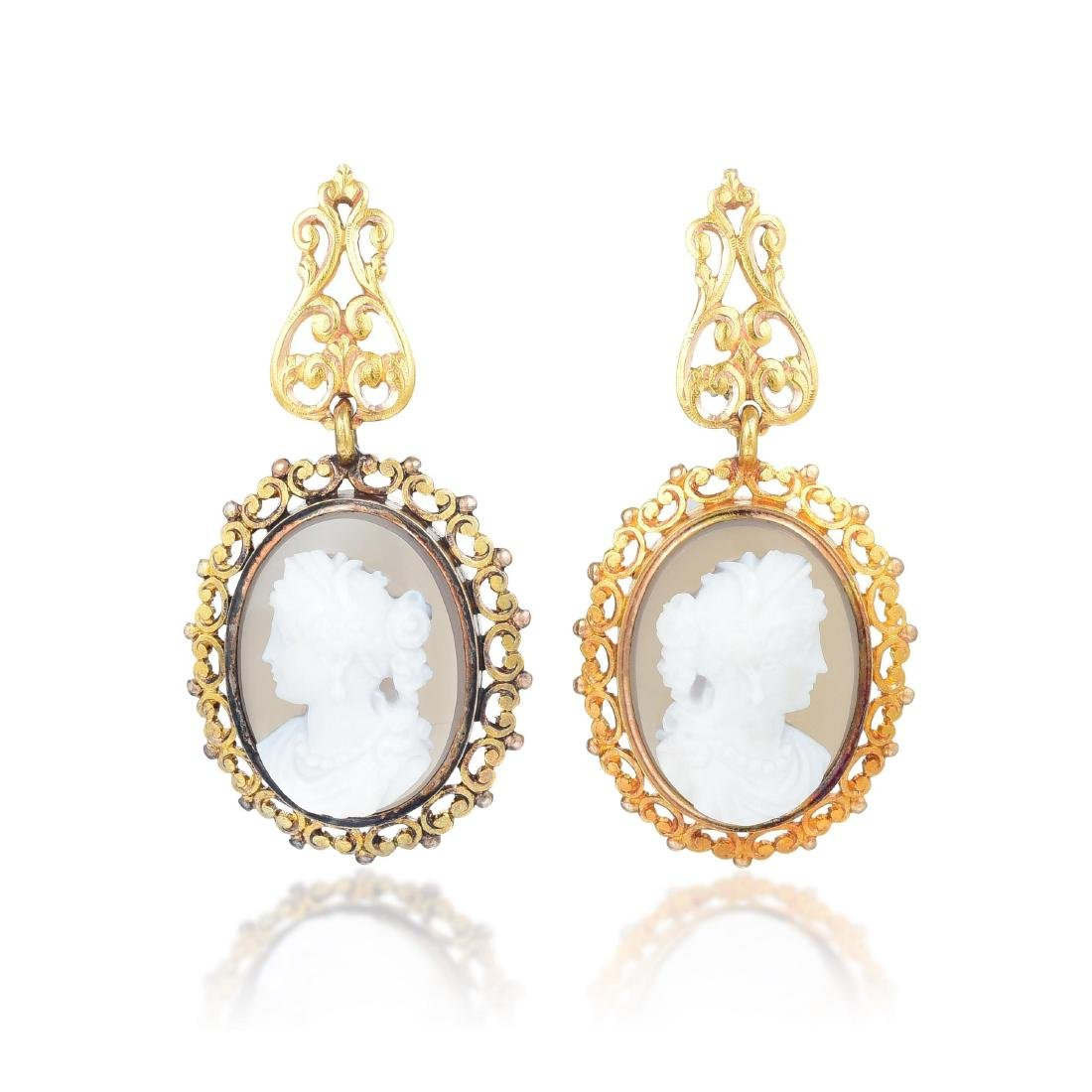 A Suite of 18K Gold and Hardstone Victorian Cameo - 4