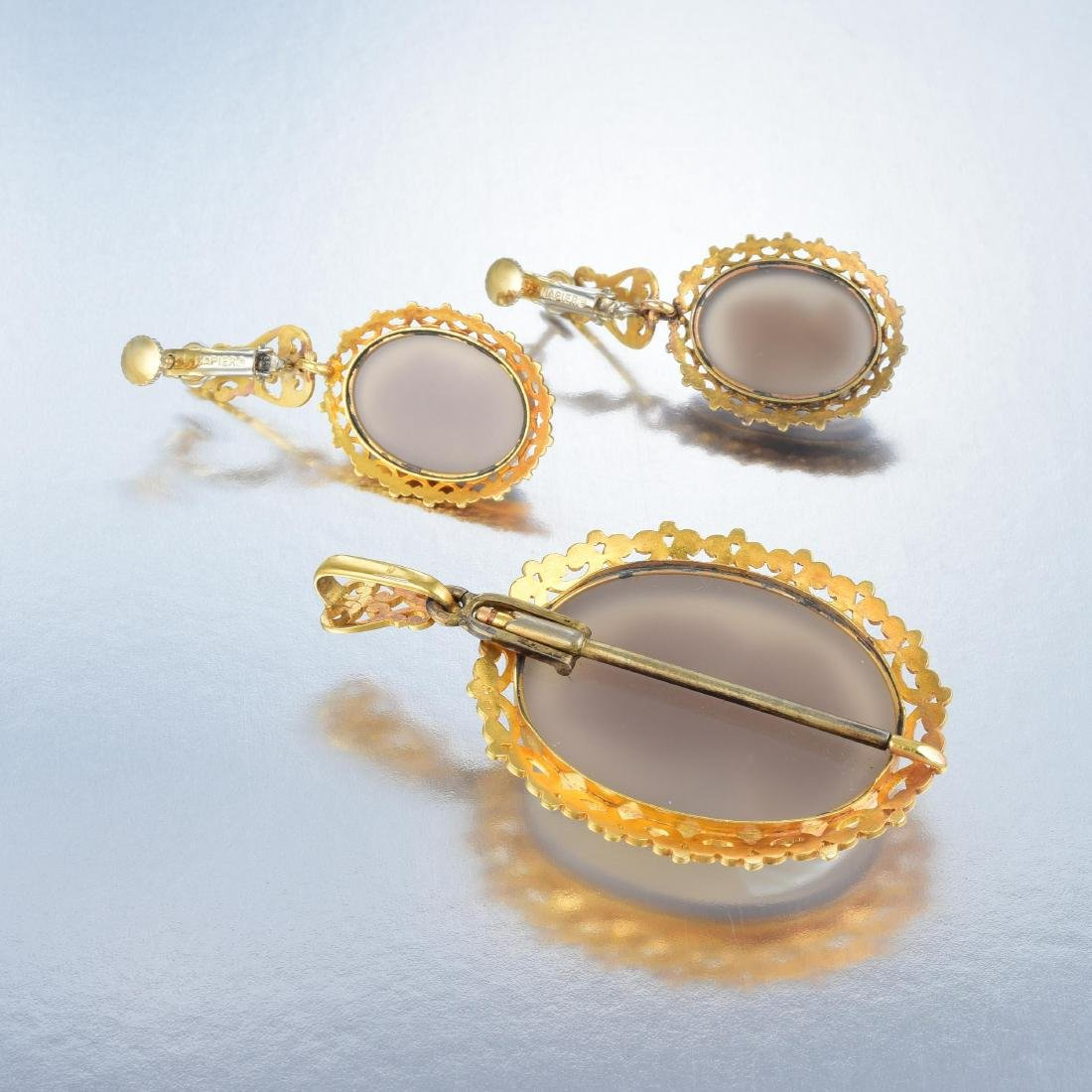 A Suite of 18K Gold and Hardstone Victorian Cameo - 5