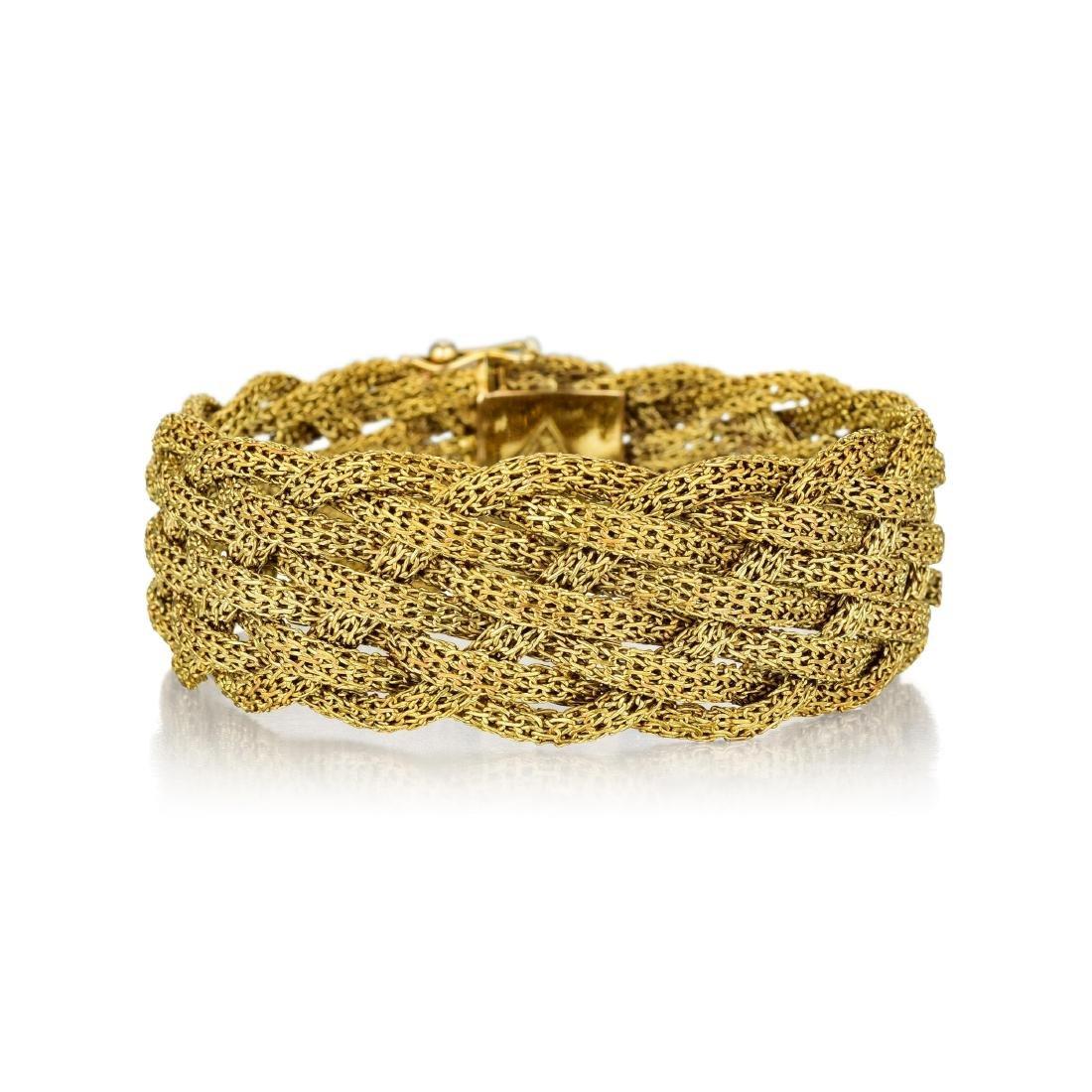 An 18K Gold Braided Bracelet