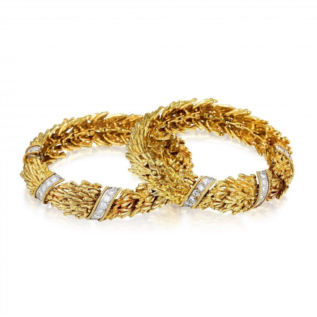 David Webb Gold Diamond Convertible Bracelets/Necklace