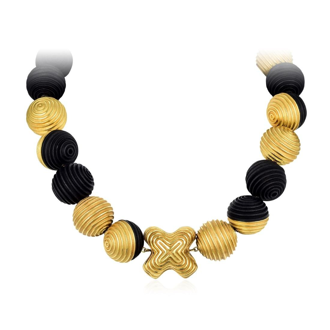 Christopher Walling Gold and Ebony Bead Necklace