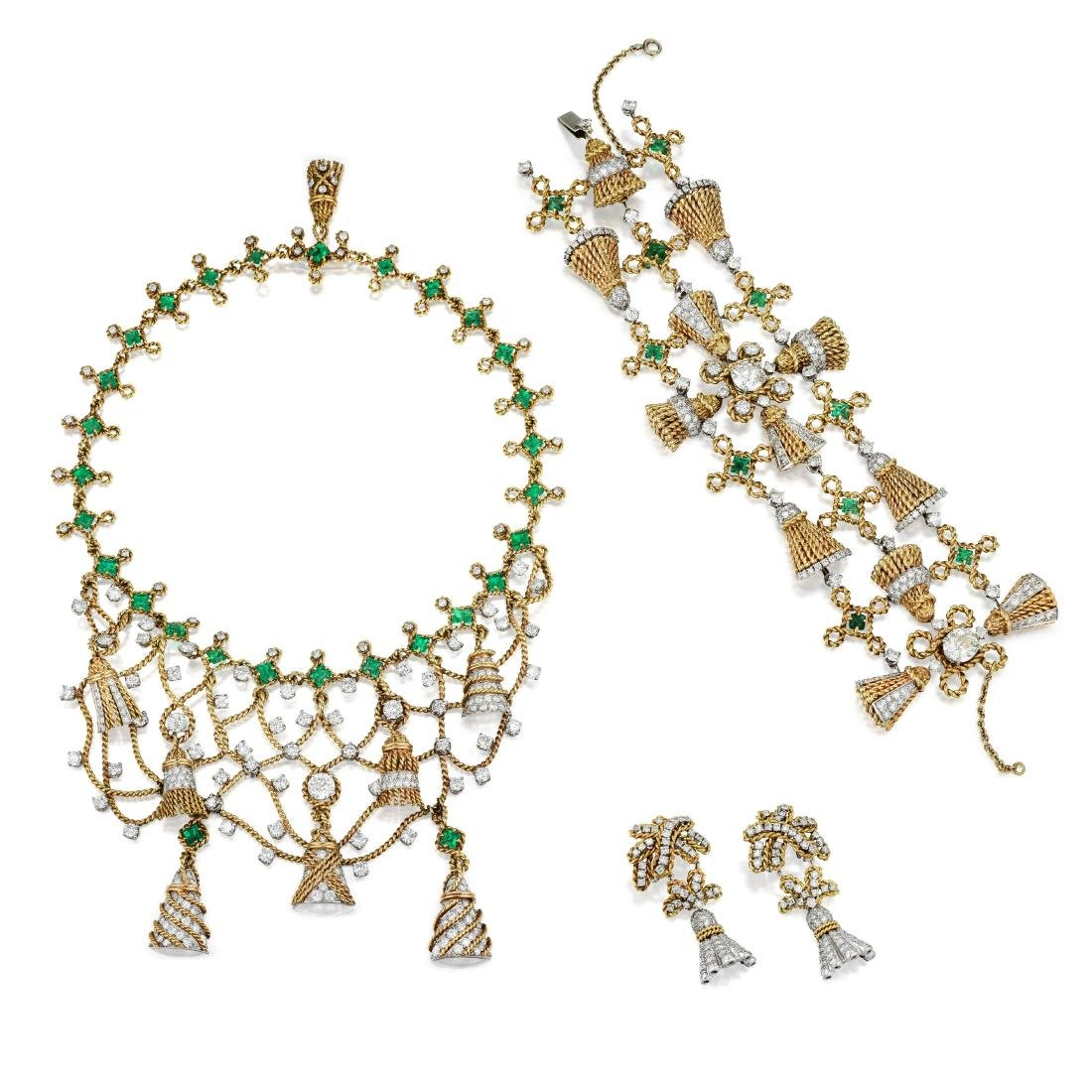 Schlumberger Emerald and Diamond Tassel Suite