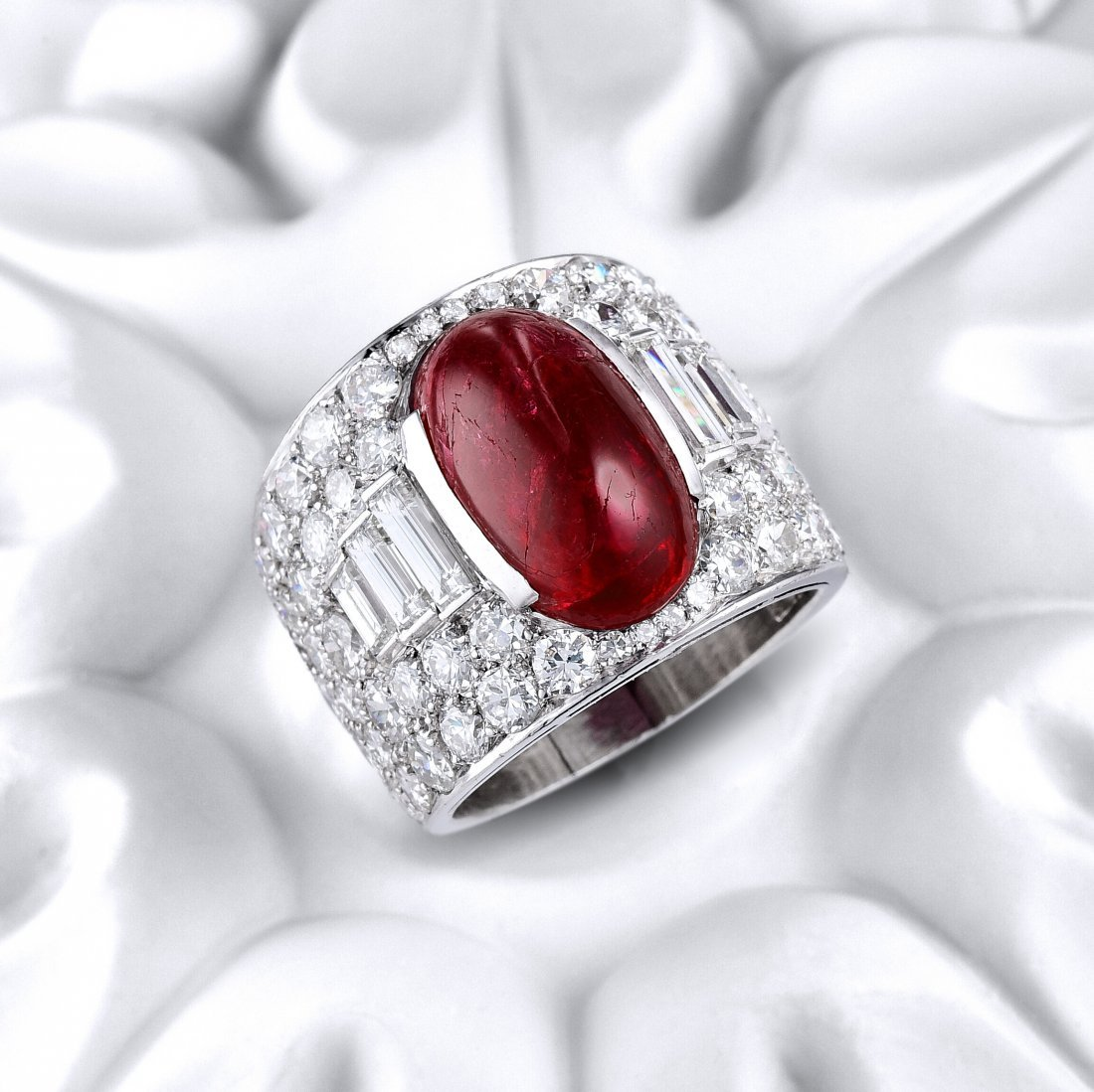 "Bulgari Burmese Ruby and Diamond ""Trombino"" Ring"