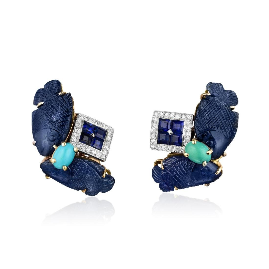 A Pair of Sapphire Diamond and Turquoise Earclips