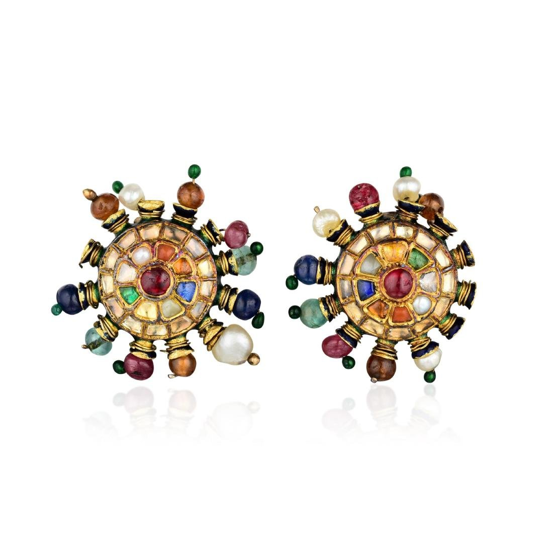 Diamond and Multicolored Gemstone Indian Earrings