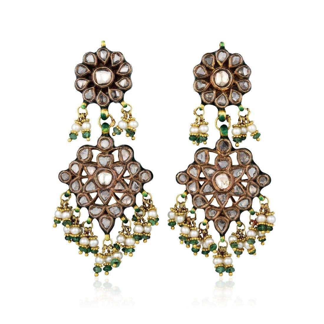 A Pair of Diamond Enamel Multi-gemstone Indian Earrings