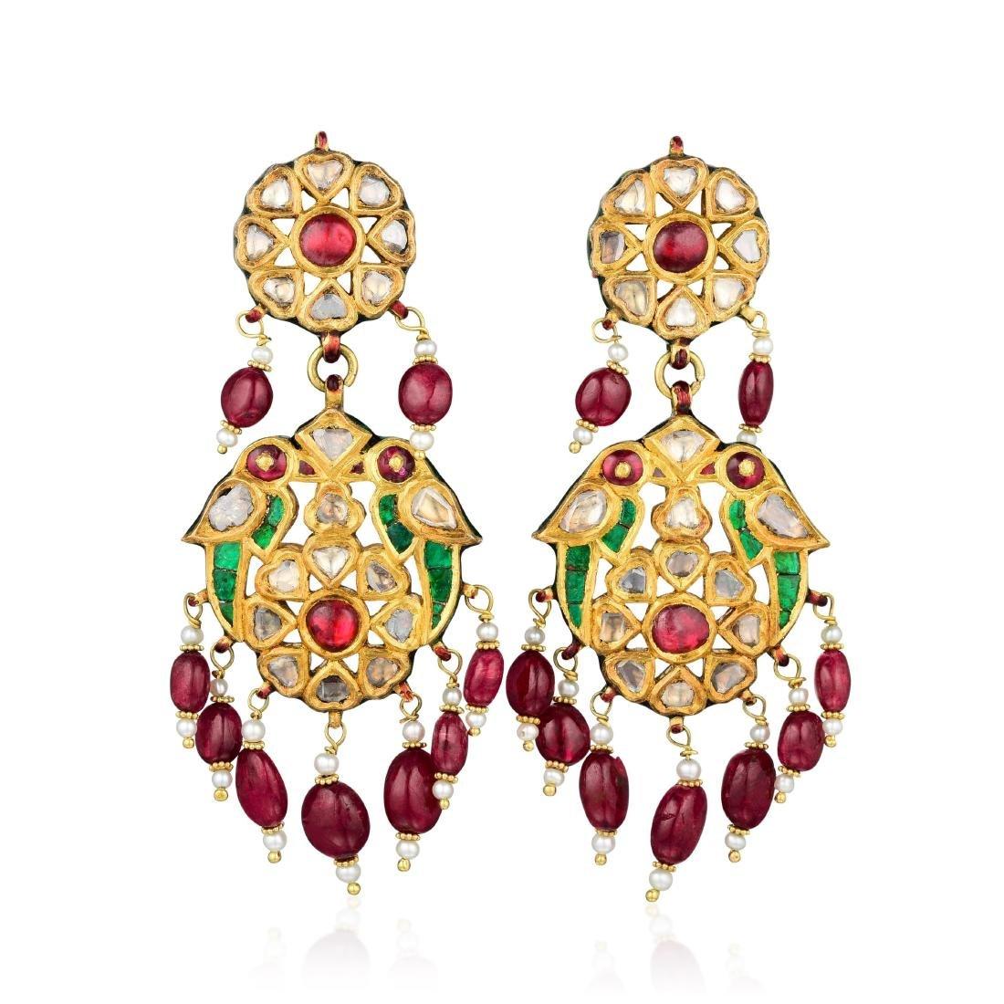 Ruby and Diamond Enamel Indian Chandelier Earrings