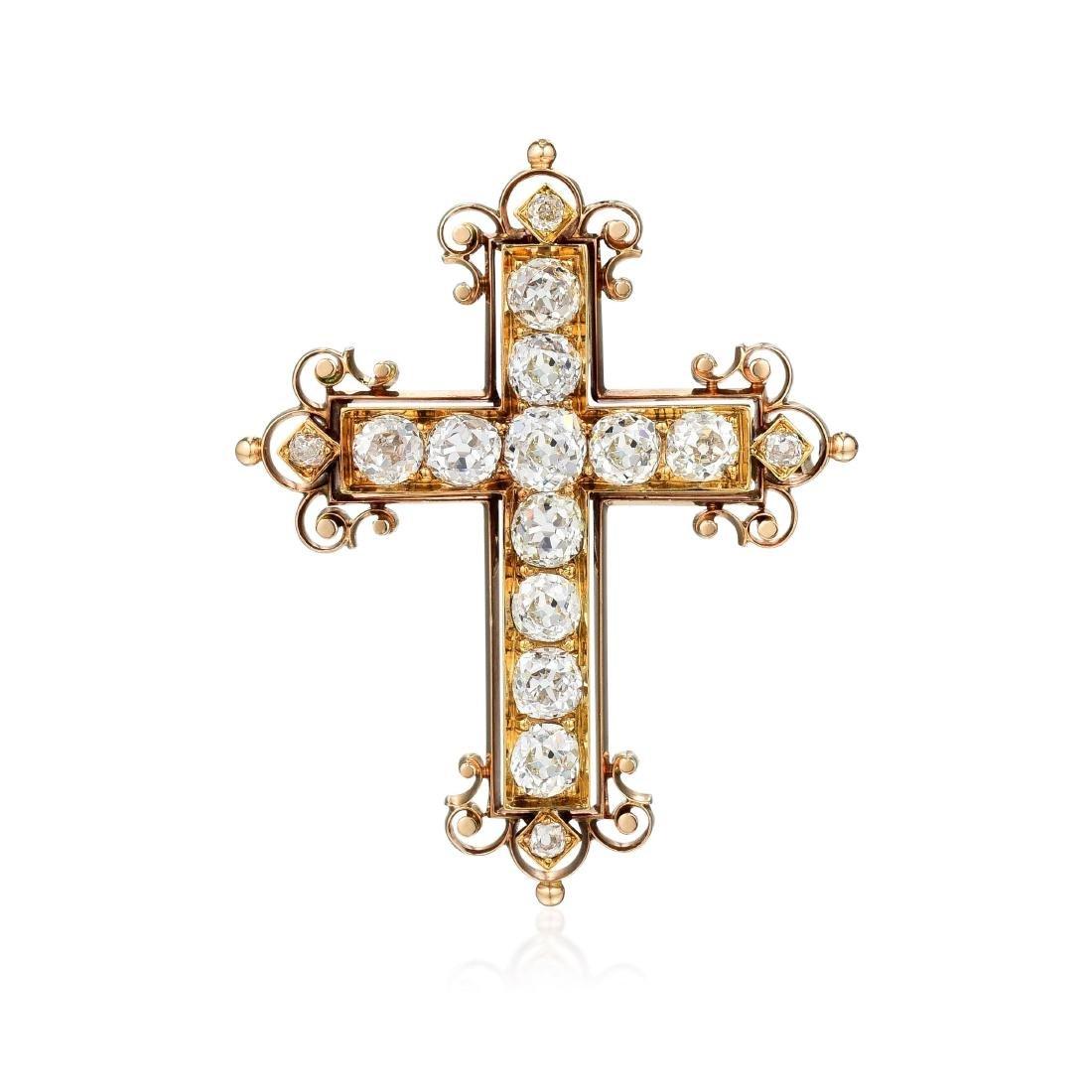 Victorian Diamond Cross Brooch/Pendant