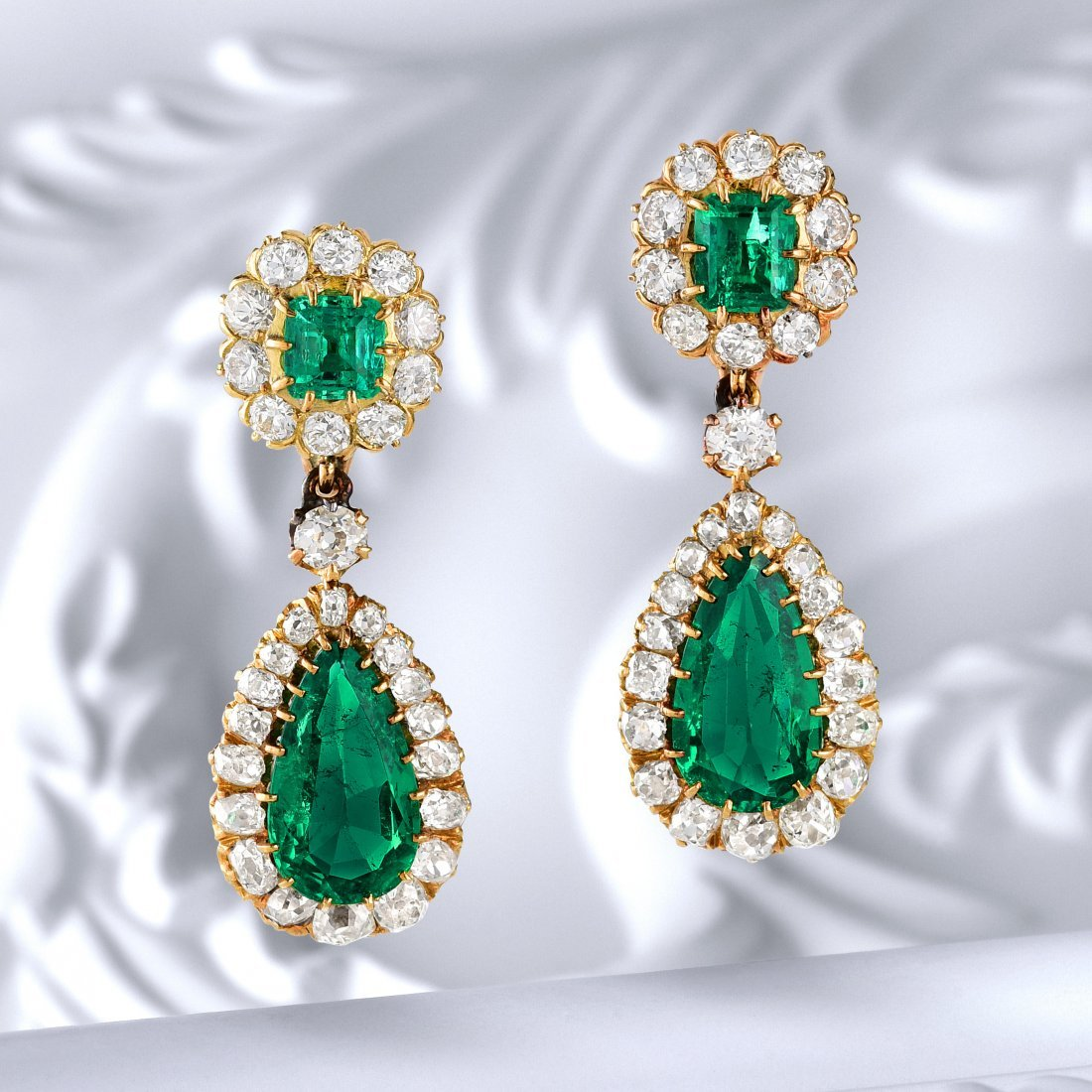Victorian Colombian Emerald and Diamond Earrings