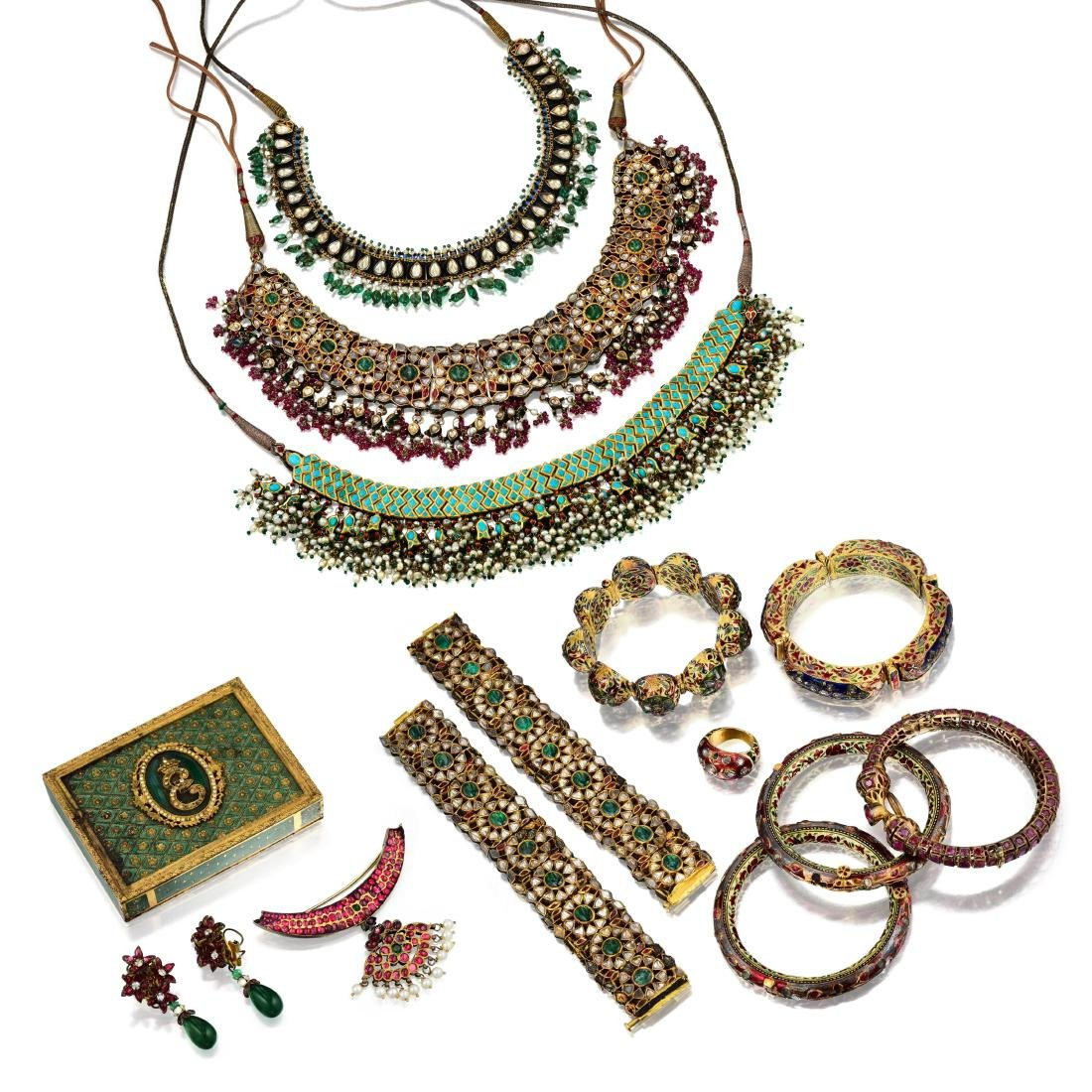 A Group of Indian Jewelry and Enamel Box