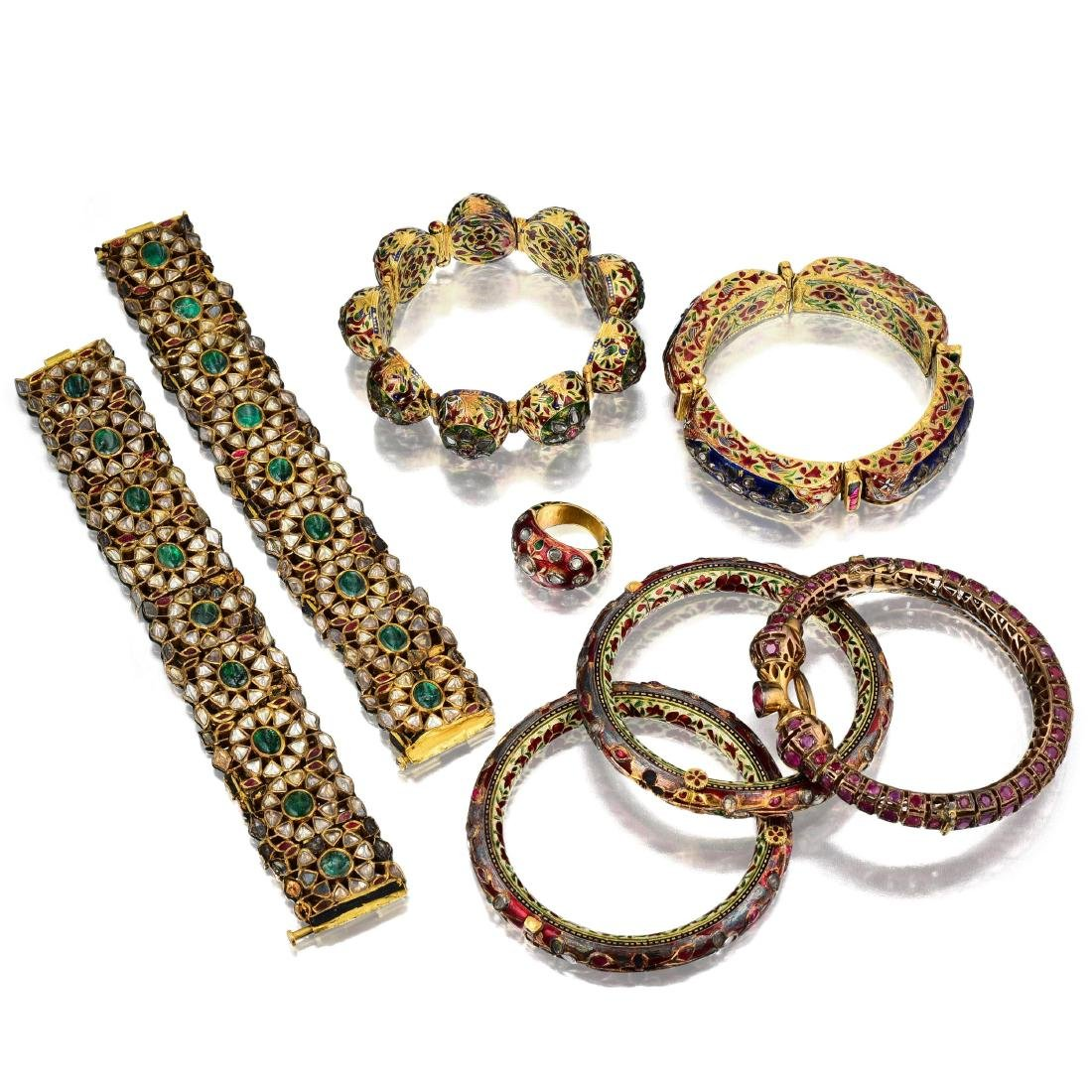 A Group of Indian Jewelry and Enamel Box - 2
