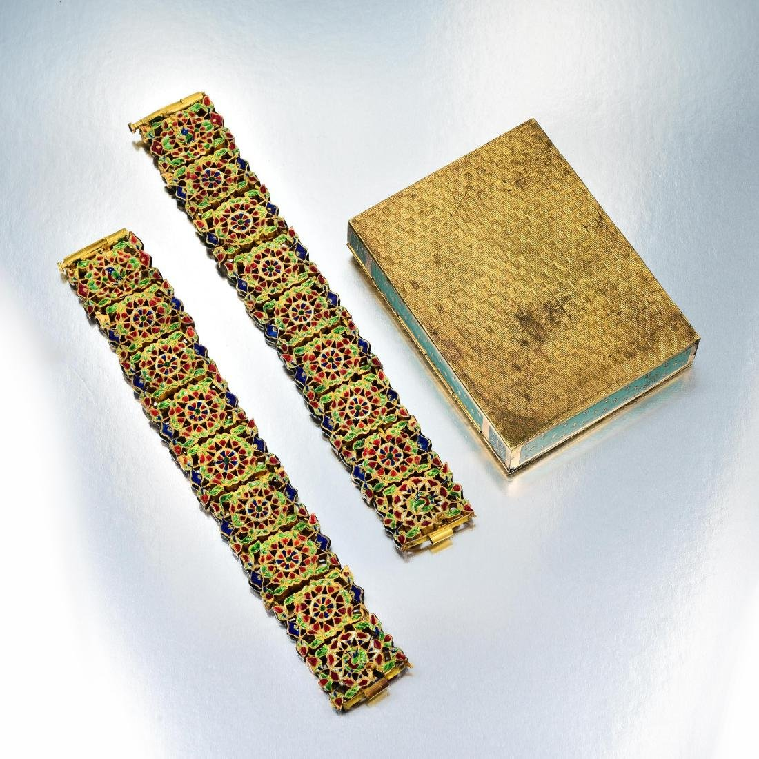 A Group of Indian Jewelry and Enamel Box - 7