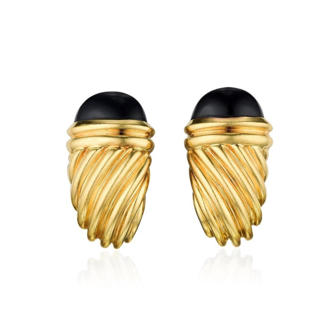 David Yurman Onyx and Gold Earrings