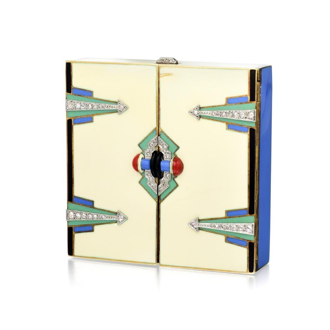 Art Deco Enamel Compact