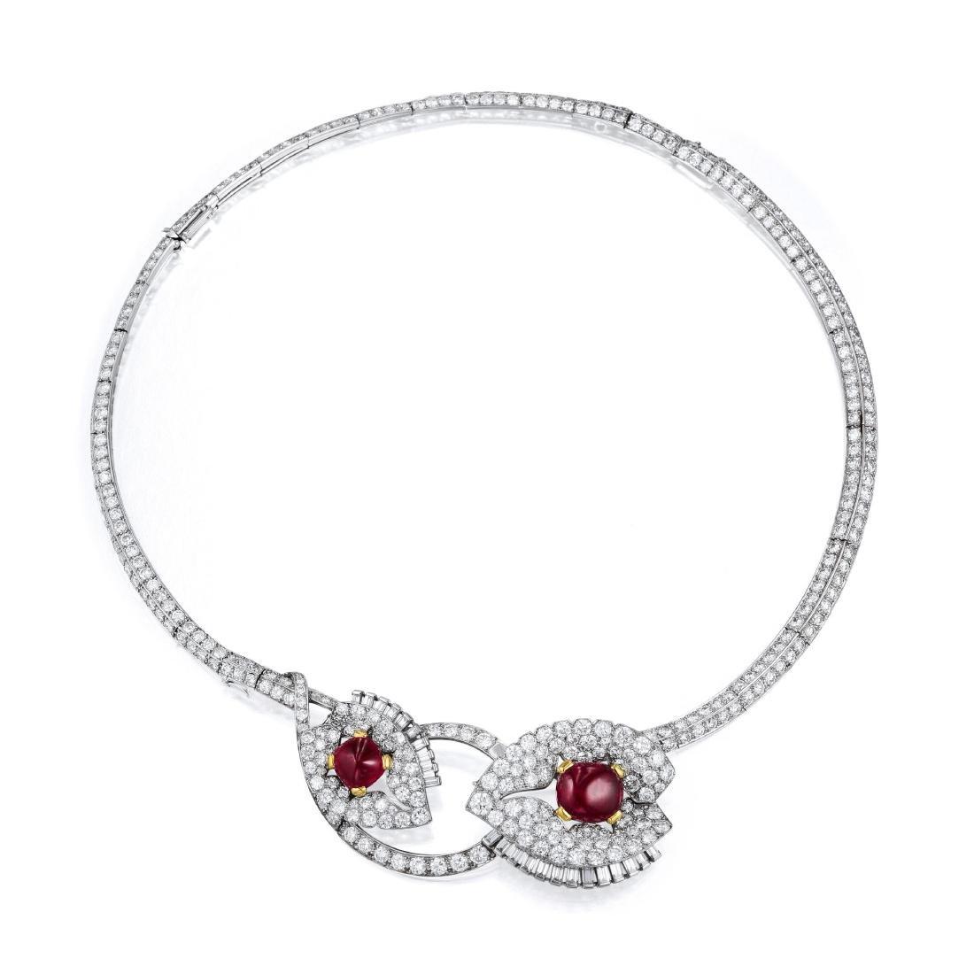 Cartier Art Deco Convertible Burmese Ruby and Diamond