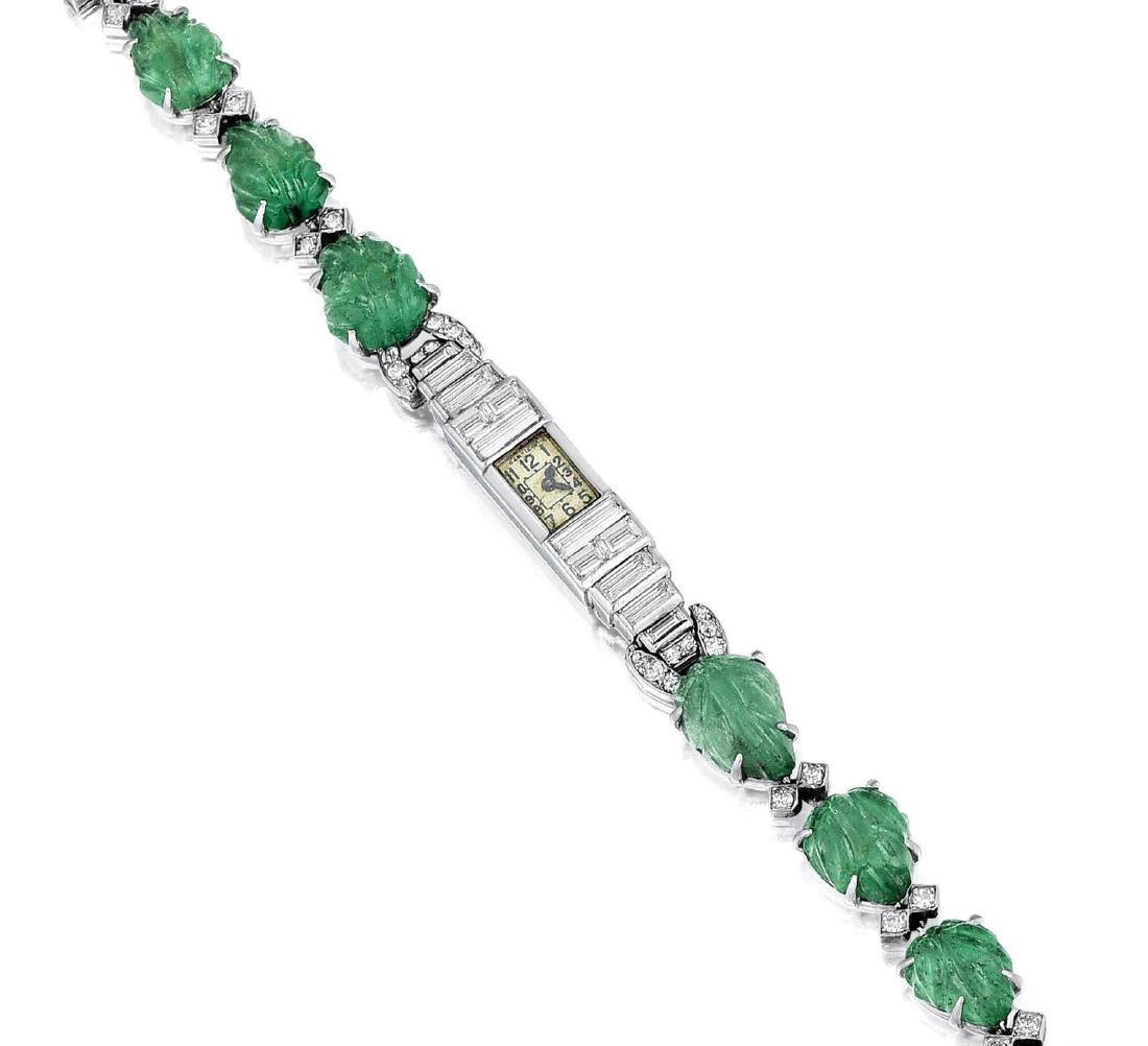 Cartier Art Deco Emerald and Diamond Platinum Dress