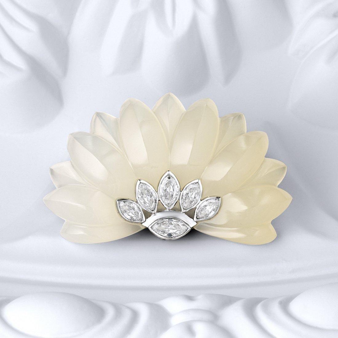 Suzanne Belperron Chalcedony Diamond Clip