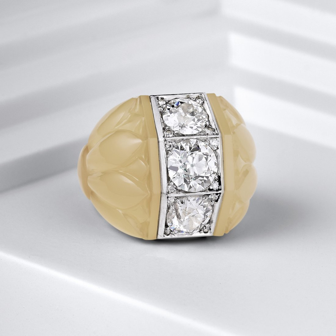 Suzanne Belperron Three Diamond Chalcedony Ring