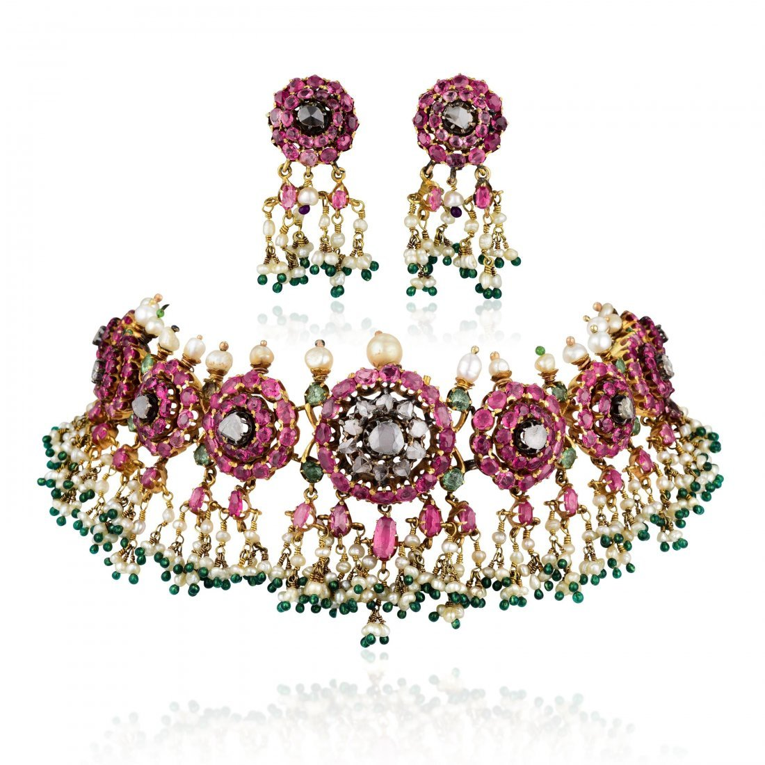 A Ruby Diamond Emerald and Pearl Indian Jewelry Set