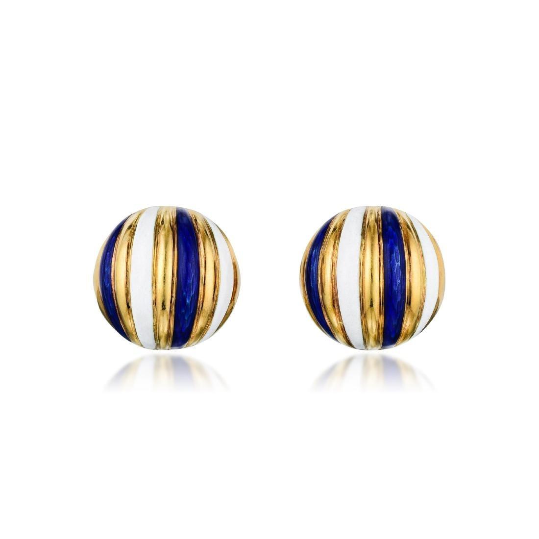 Tiffany & Co. Enamel Earclips