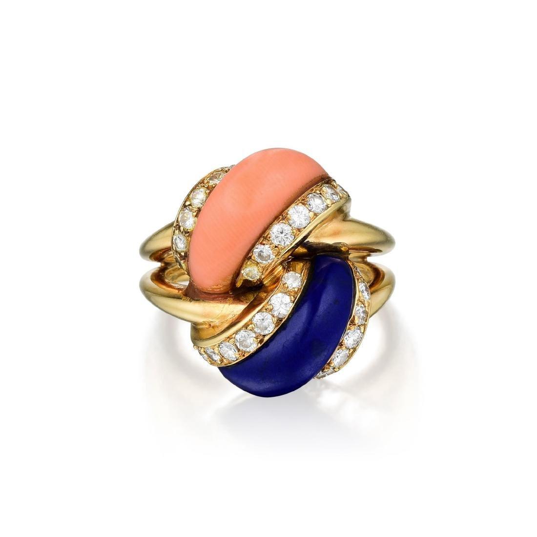 Asprey Lapis Lazuli Coral and Diamond Ring