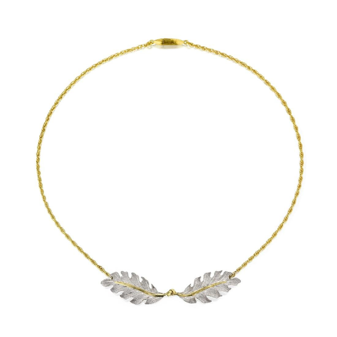 Buccellati Gold and Silver Leaf Necklace