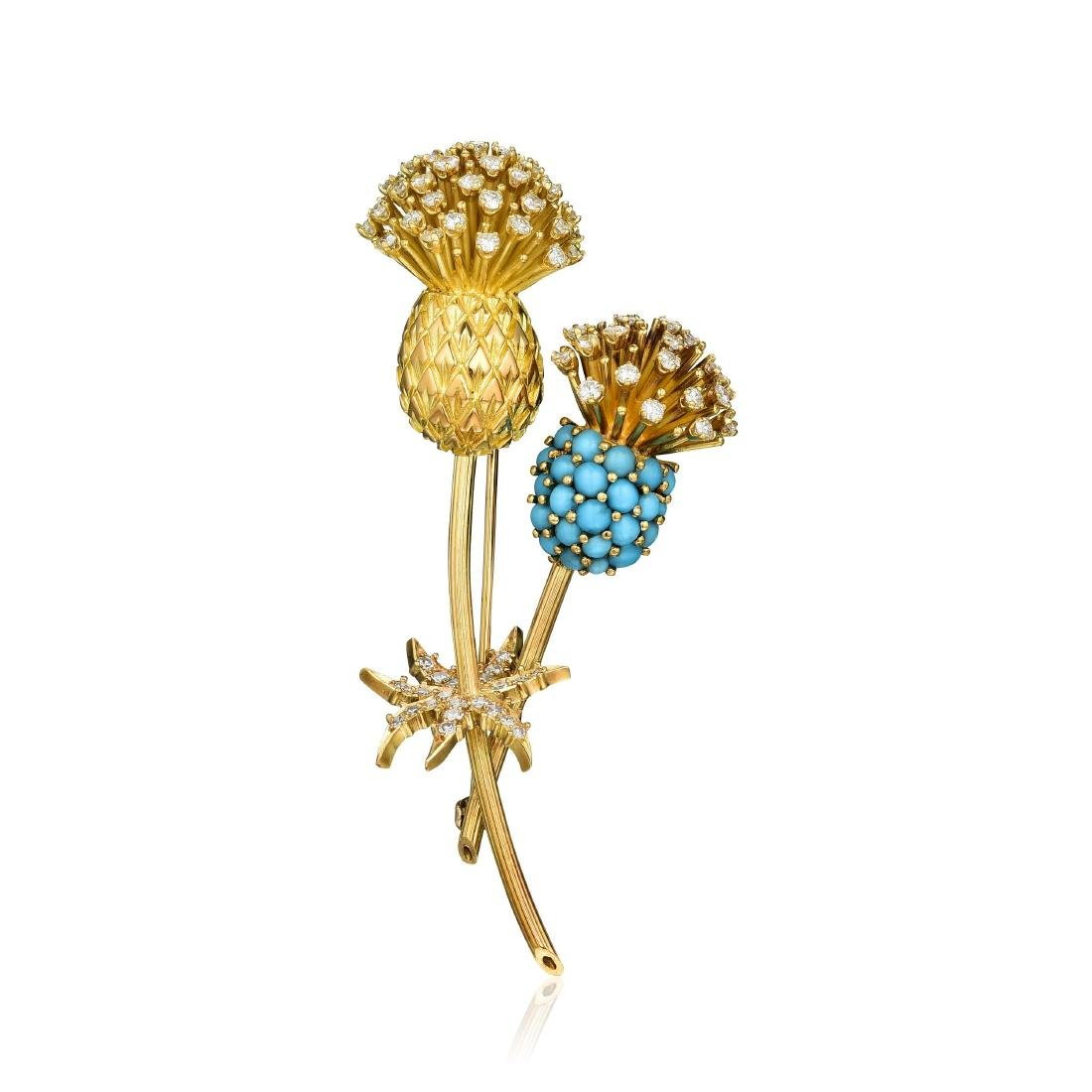 Cartier Turquoise and Diamond Thistle Brooch