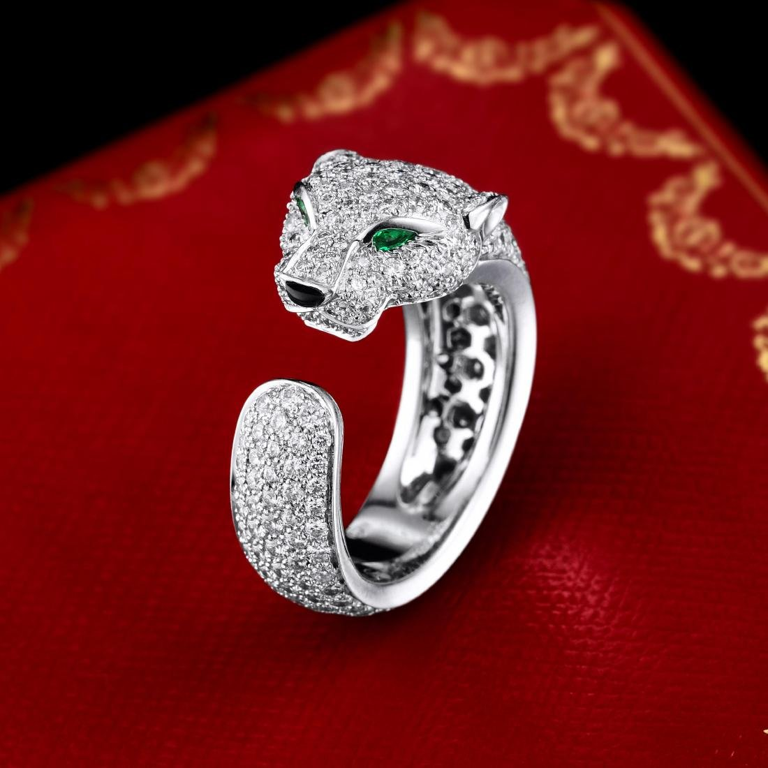 Cartier Panthere Diamond and Emerald Ring