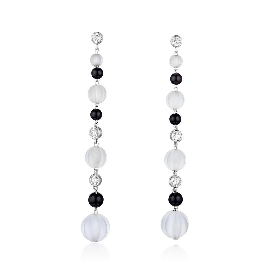 Rock Crystal Onyx and Diamond Earrings