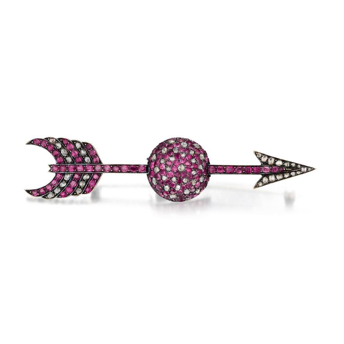 A Ruby and Diamond Arrow Brooch, French