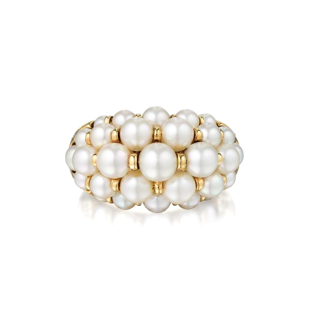 Cartier Andromaque Cultured Pearl and Diamond Ring