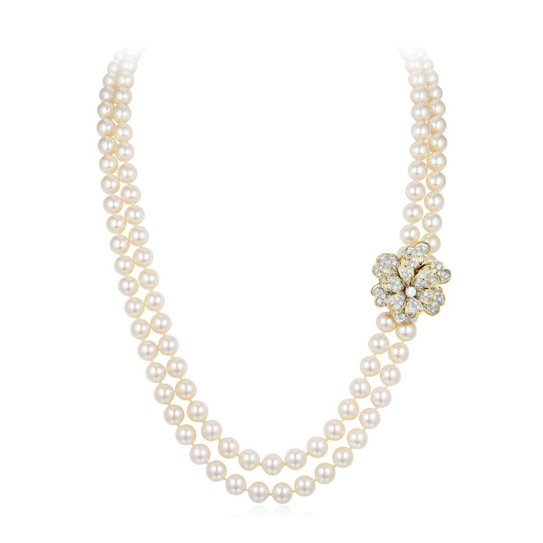 A Cultured Pearl Necklace with Diamond Enhancer/Brooch