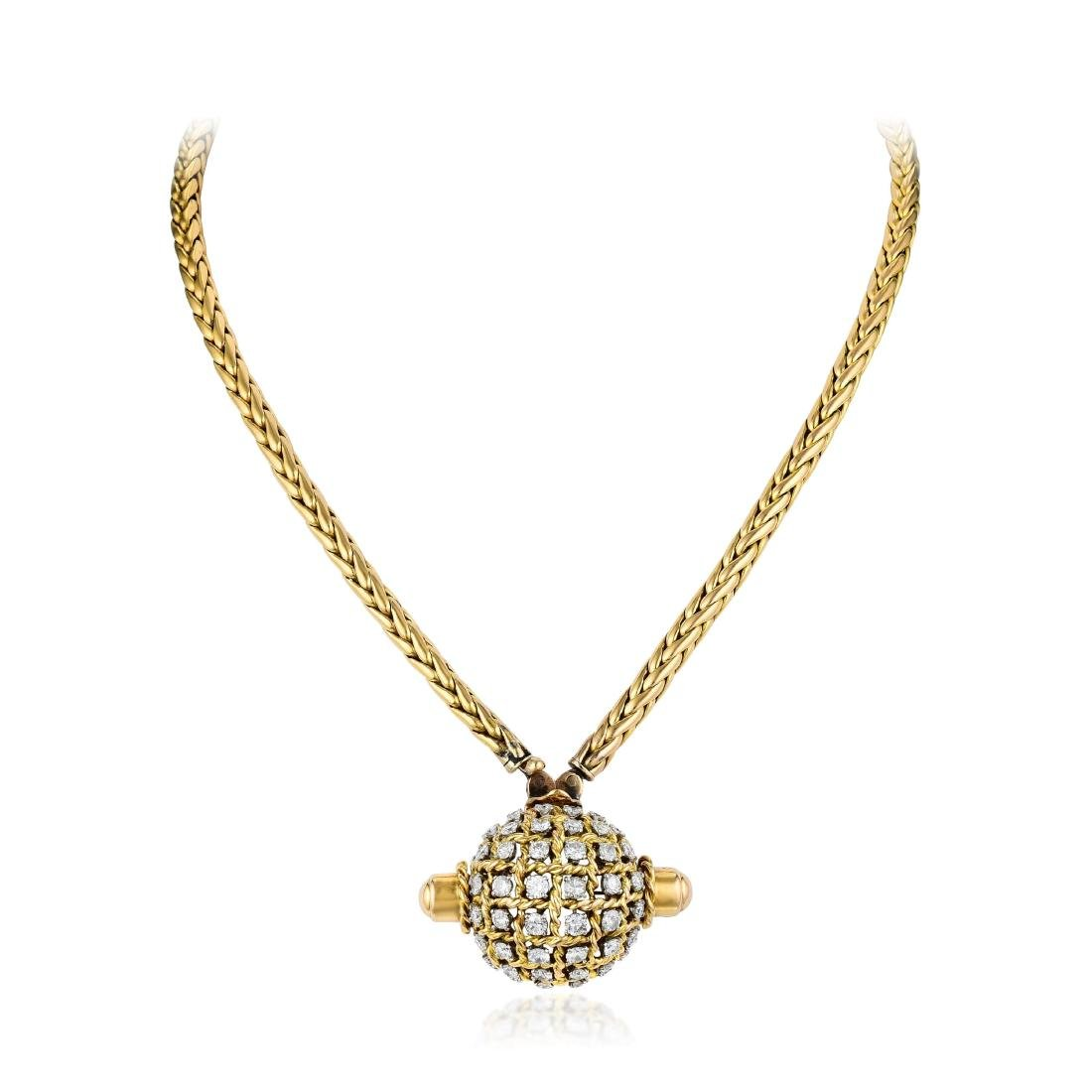A Diamond Convertible Cover Watch Necklace/Bracelet,