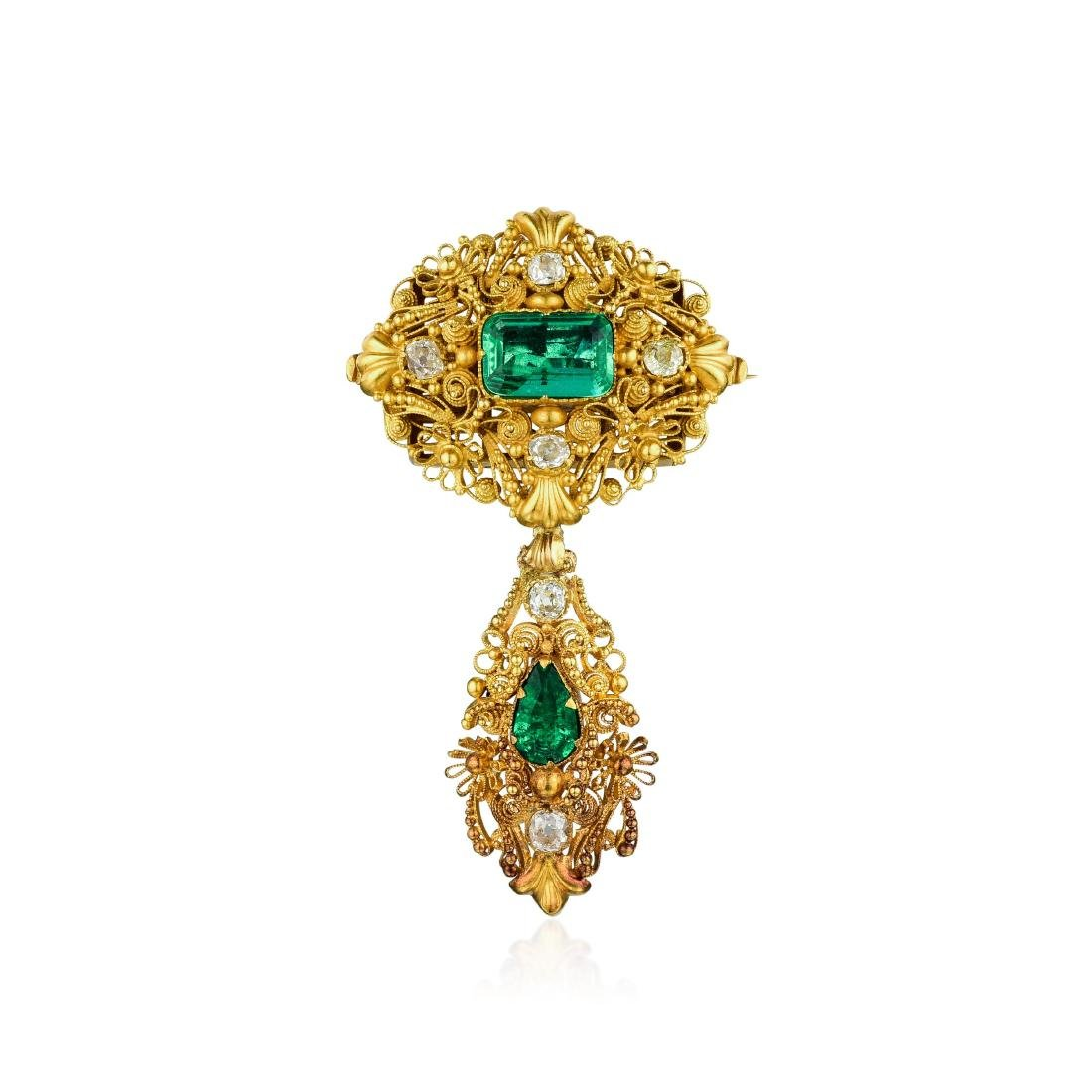 Victorian Emerald and Synthetic Green Stone Diamond