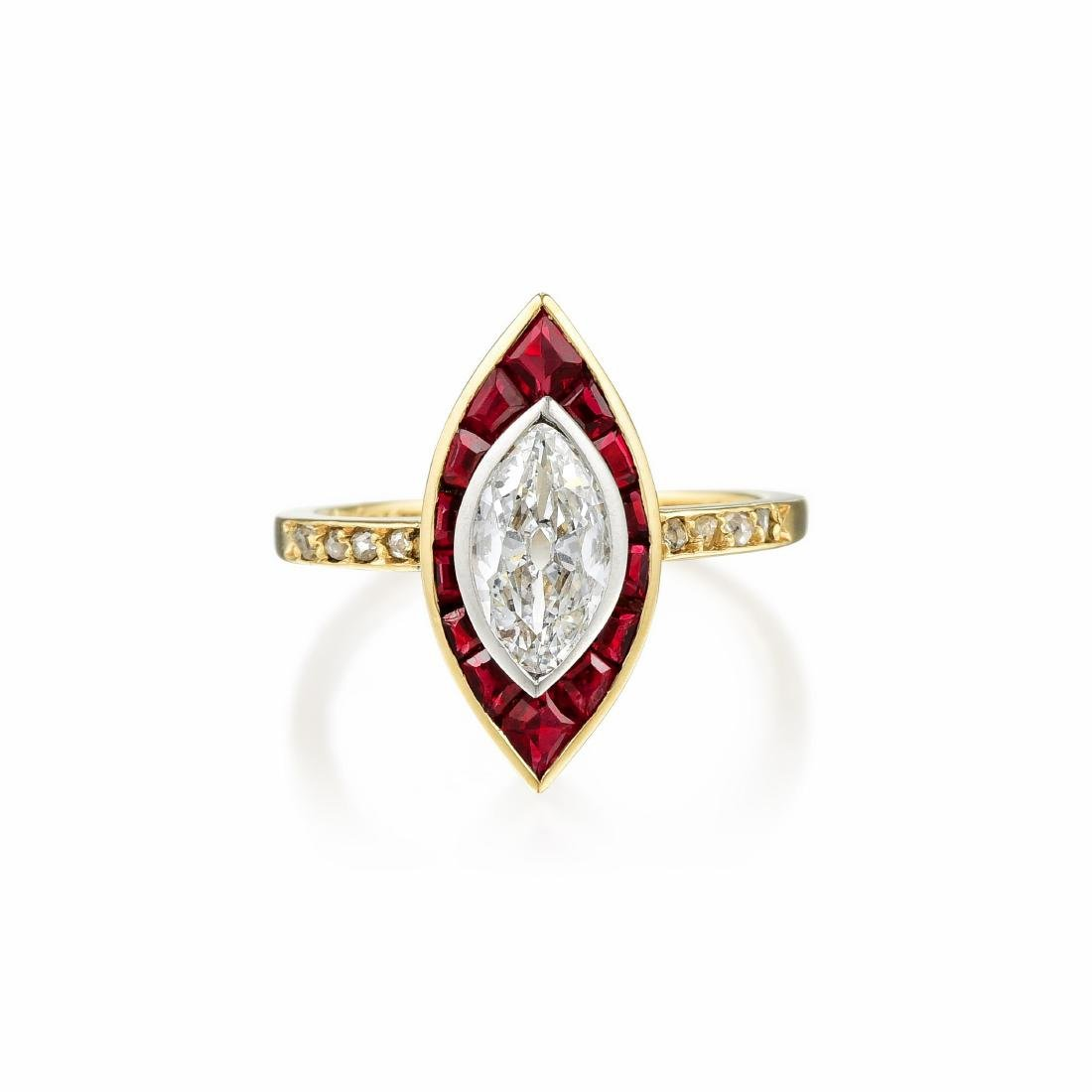 Cartier Victorian Diamond and Ruby Ring