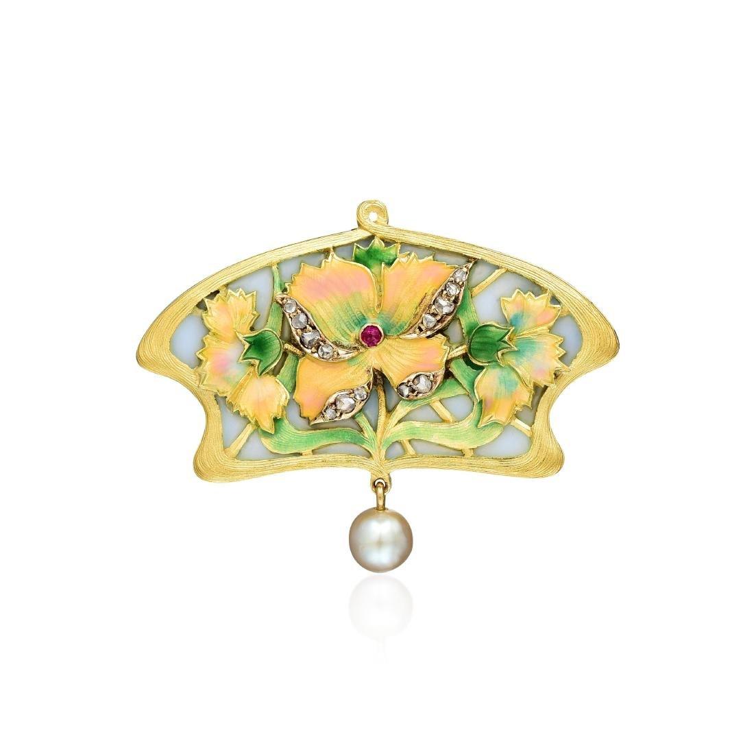 Art Nouveau Enamel and Pearl Pendant/Pin