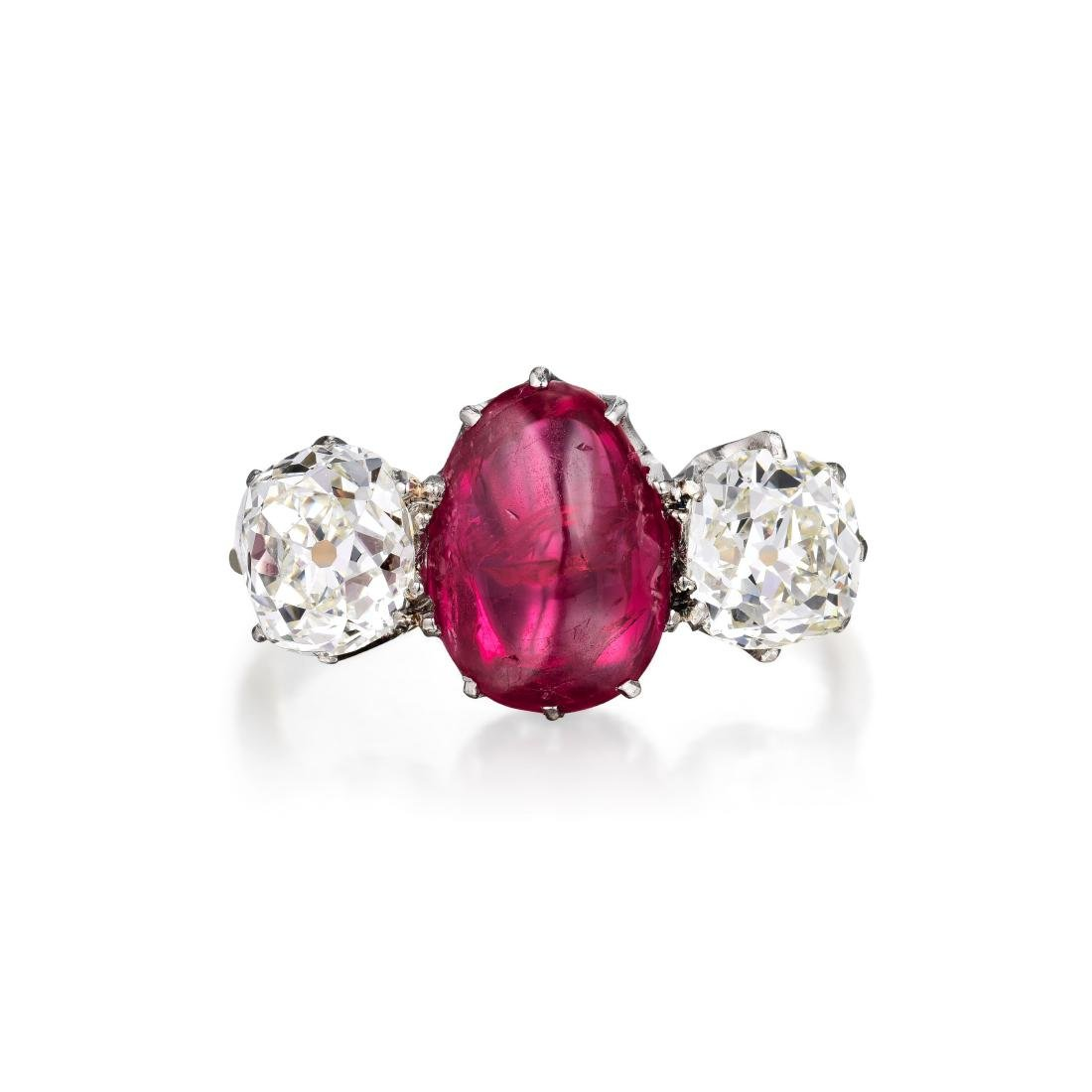 An Antique Burmese Ruby and Diamond Ring