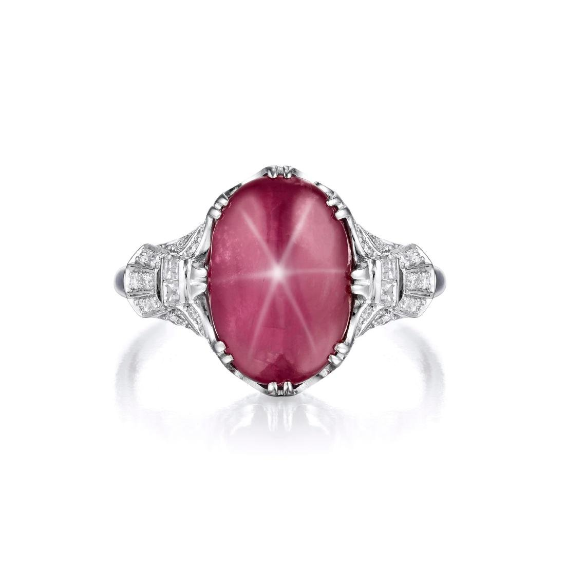 A Star Ruby Platinum Ring