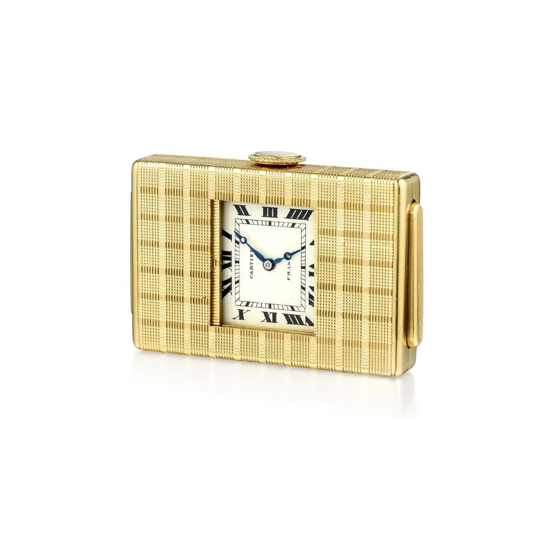 "Cartier ""Guillotine"" Travel Clock by European Watch &"
