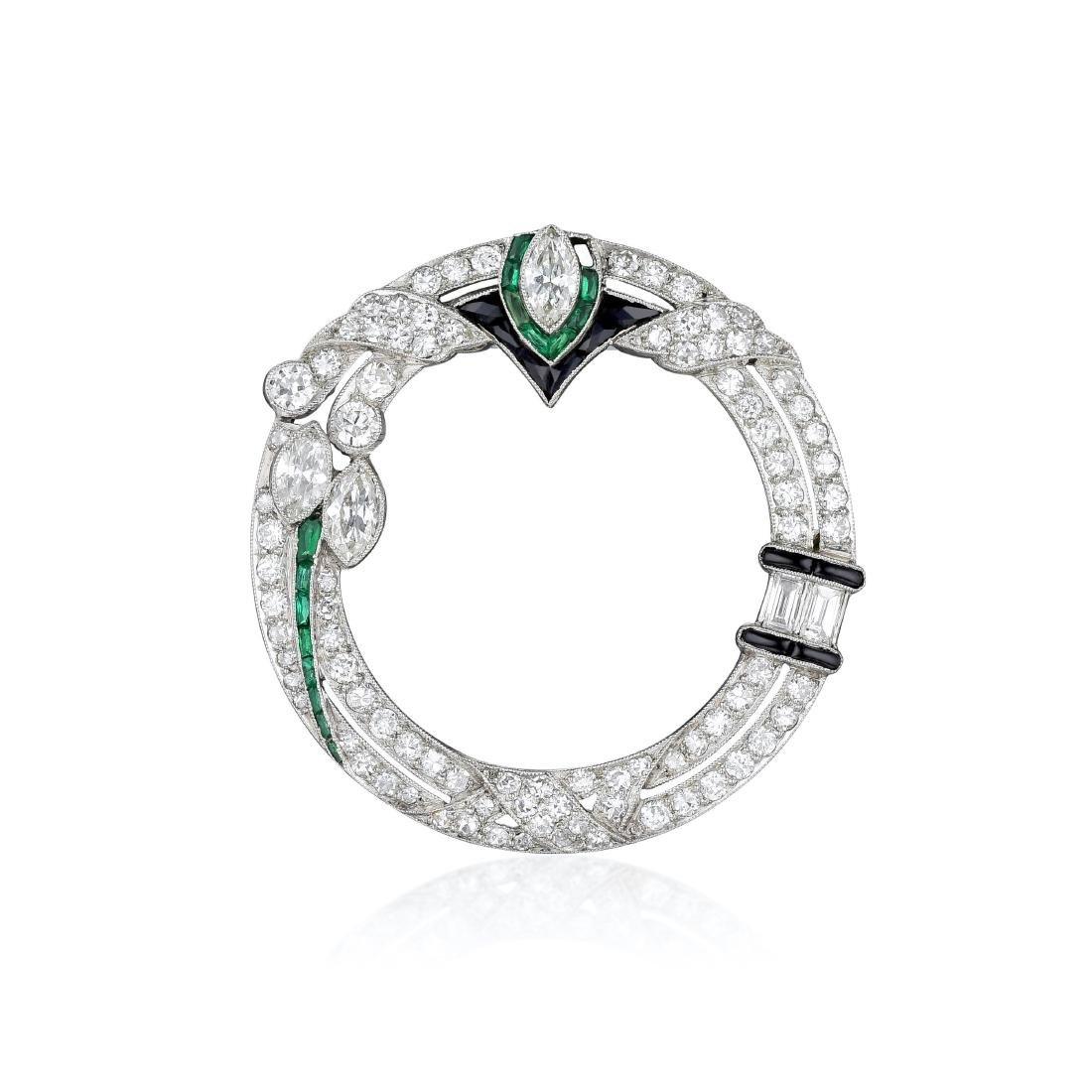 Art Deco Diamond Emerald and Black Onyx Platinum Brooch