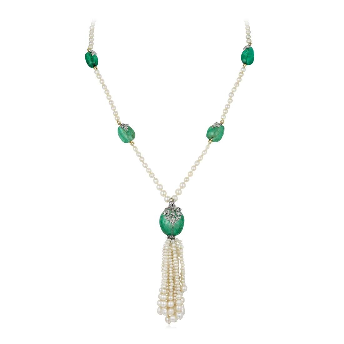 Marcus & Co. Antique Natural Pearl Emerald and Diamond