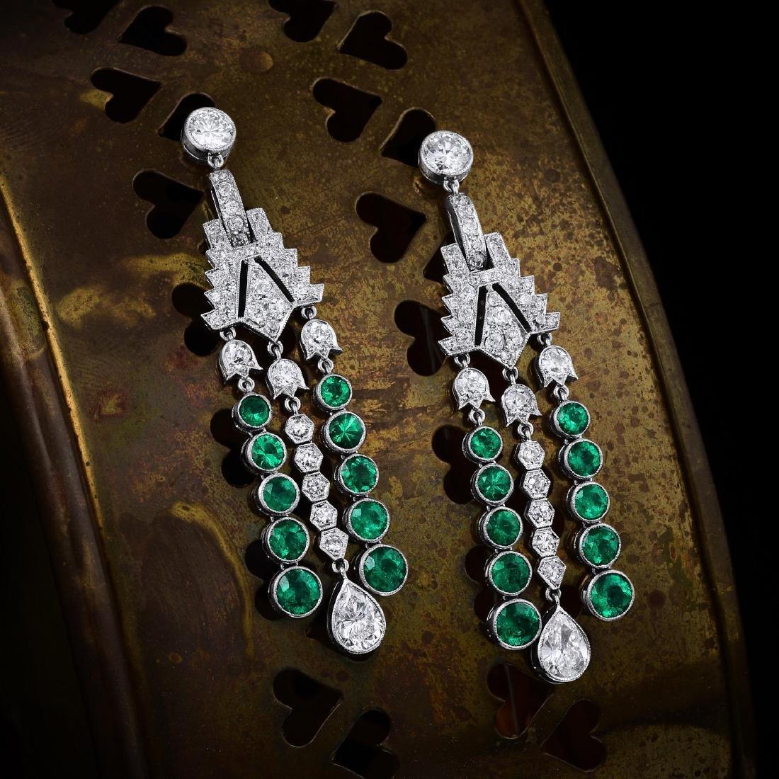 Art Deco Diamond and Emerald Platinum Earrings