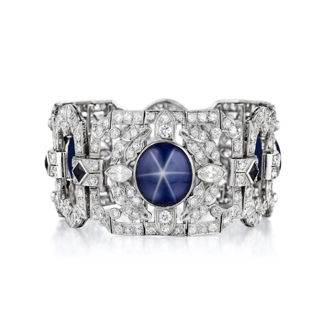 Art Deco Diamond and Synthetic Star Sapphire Platinum