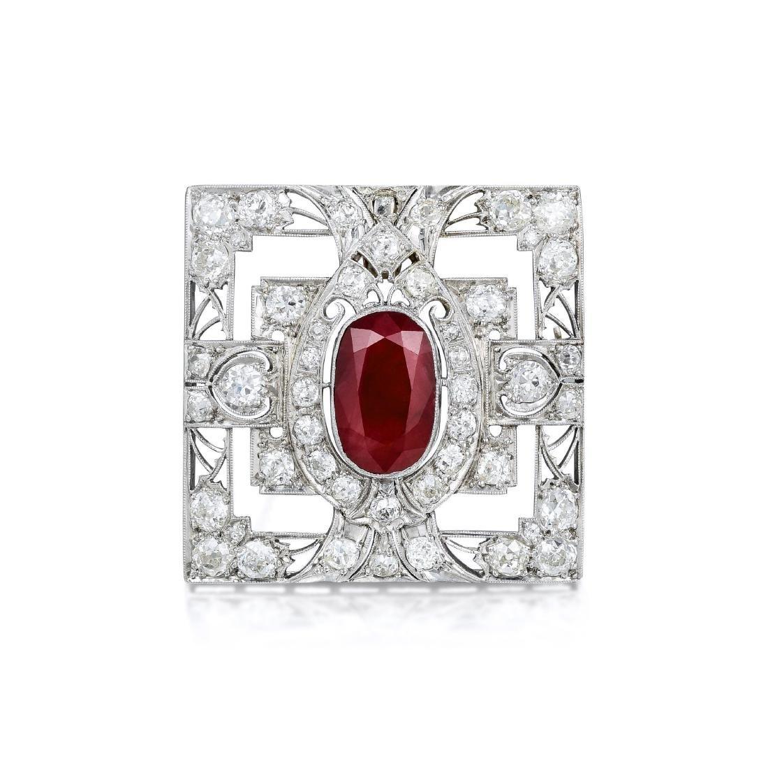 Art Deco Ruby and Diamond Platinum Pendant/Brooch