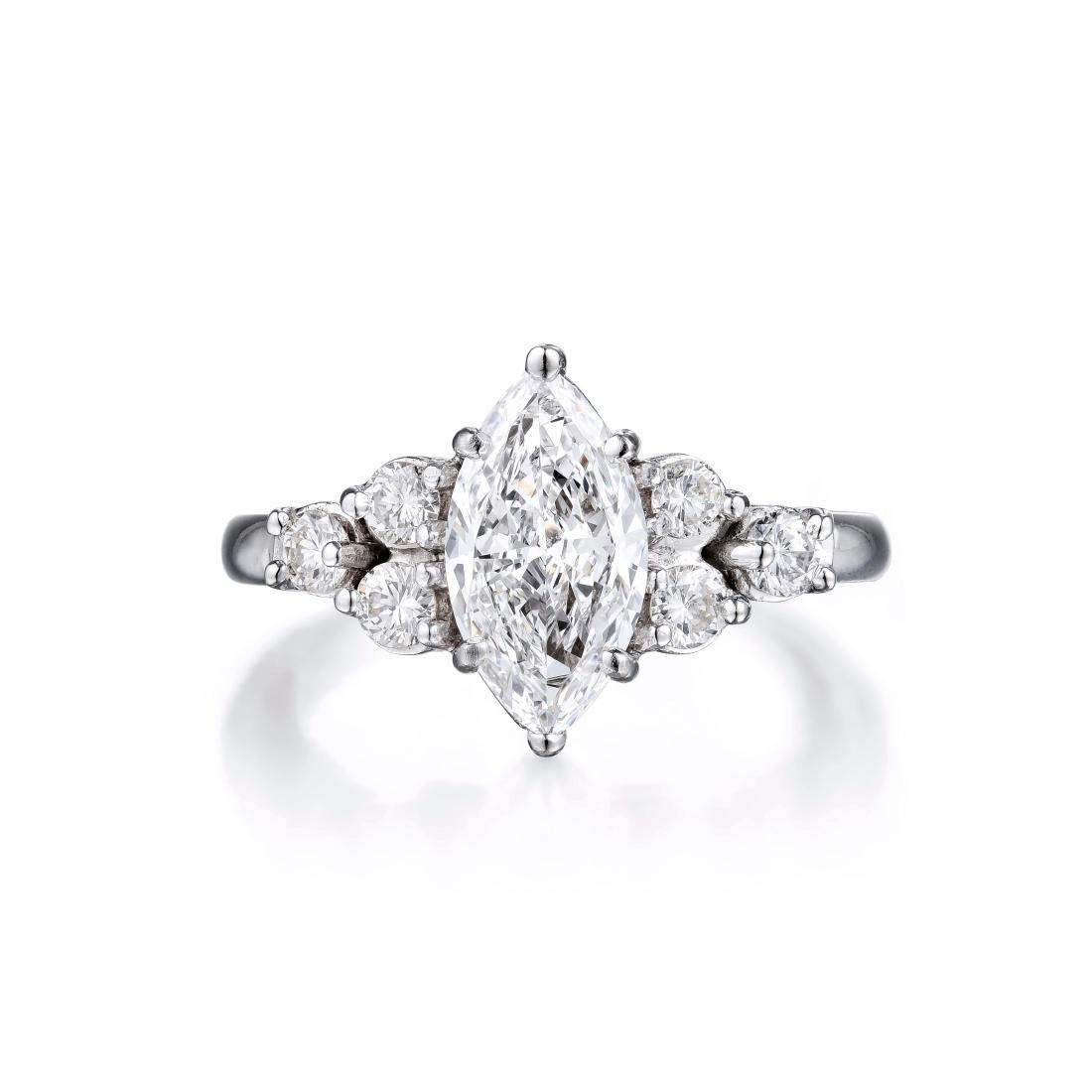 A 1.03-Carat Marquise-Cut Diamond Platinum Ring