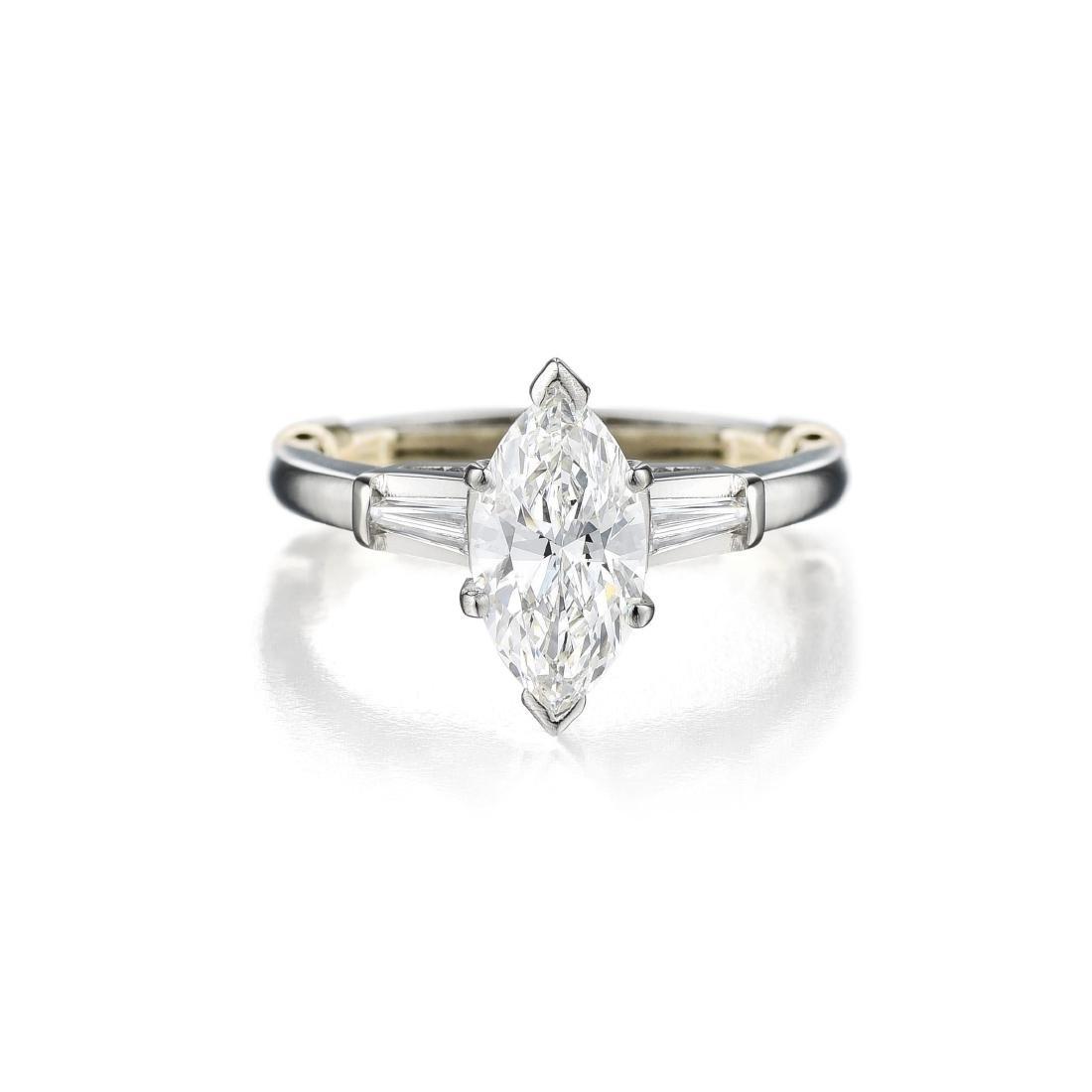 A 1.05-Carat Marquise-Cut Diamond Platinum Ring