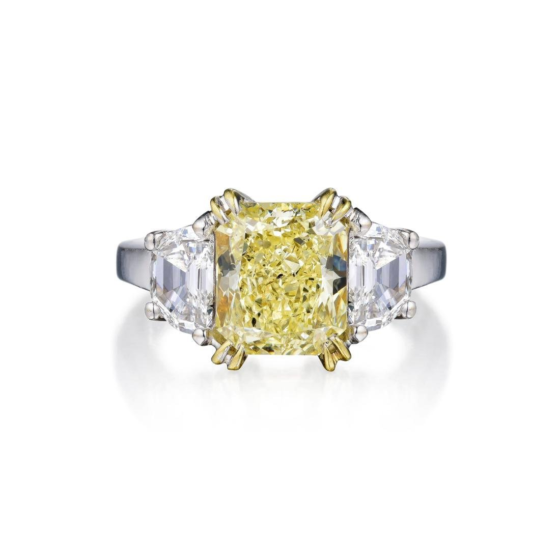 A 2.64-Carat Fancy Light Yellow Diamond Ring
