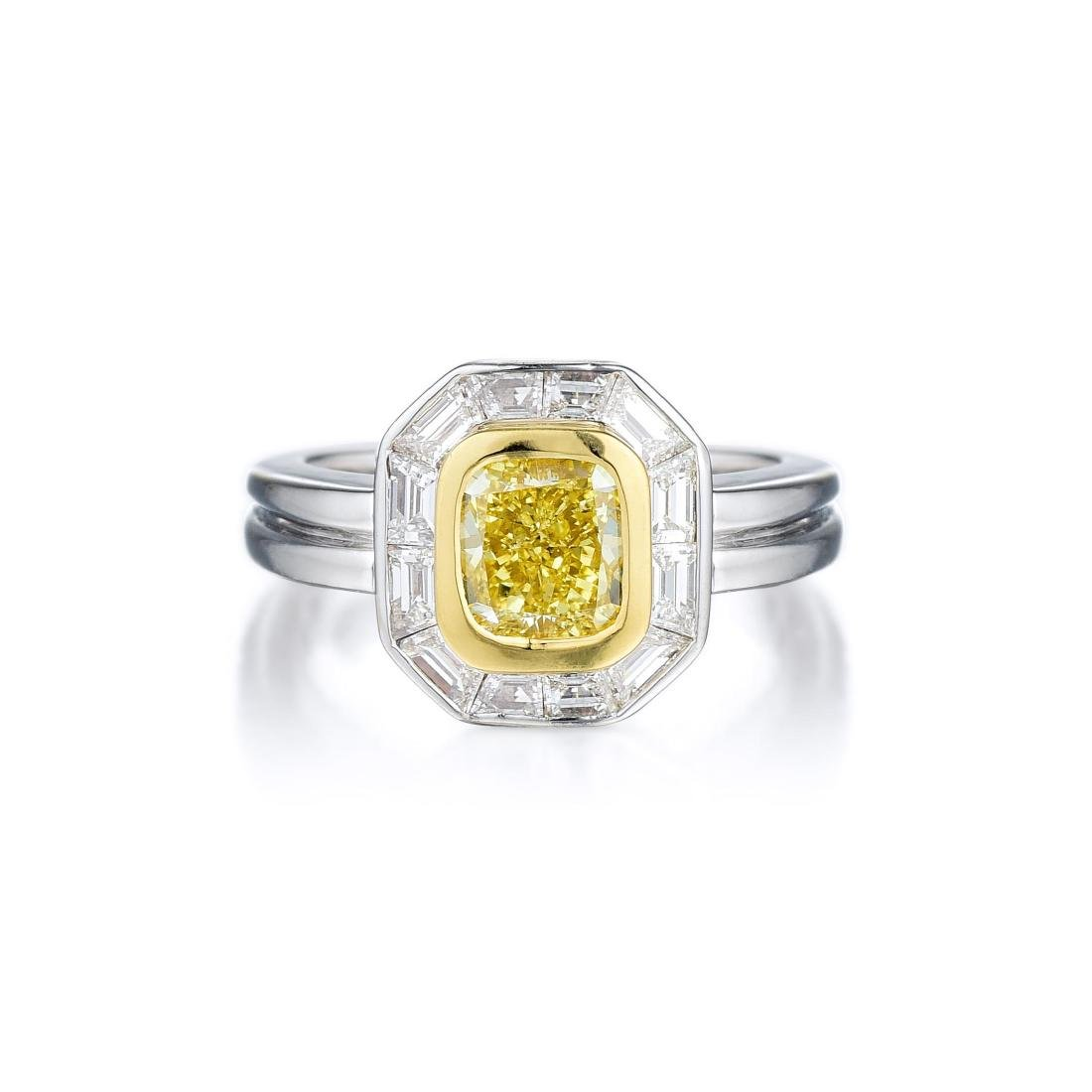 A 1.21-Carat Fancy Intense Yellow Diamond Ring