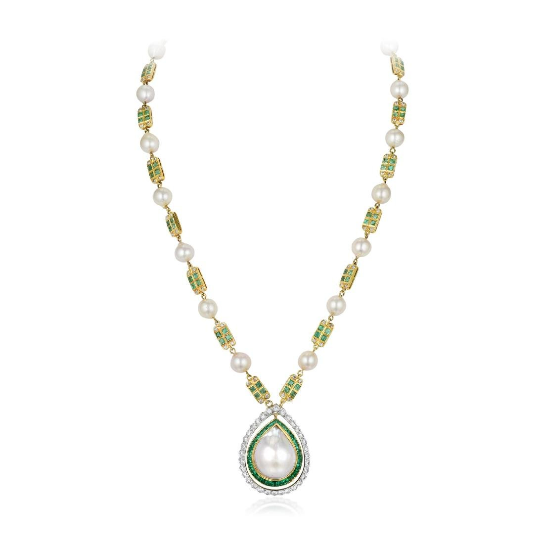 A Cultured Pearl Emerald and Diamond Necklace