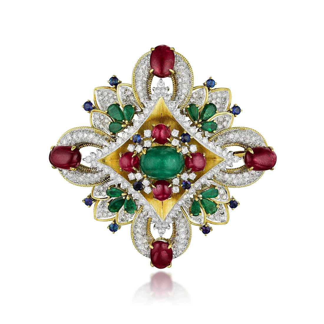 An Emerald Ruby Sapphire and Diamond Brooch/Pendant